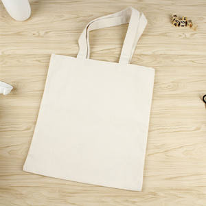 Natural Color Cotton Shopping Bag With Logos Eco -friendly Blank Bleached White Tote Bag Cotton Canvas