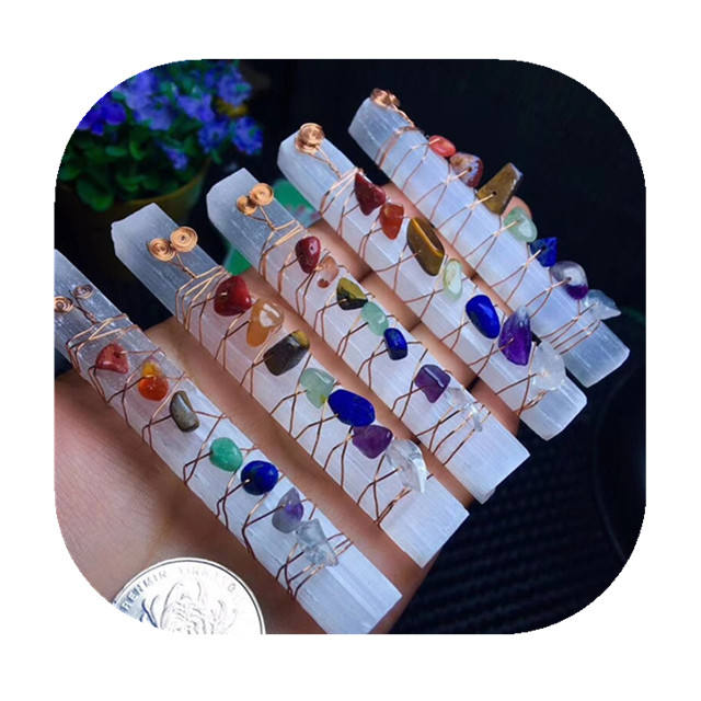 New Chakra Healing Crystals Stones Beads Wire Wrapped Raw Selenite Stick Wand for Yoga Meditation