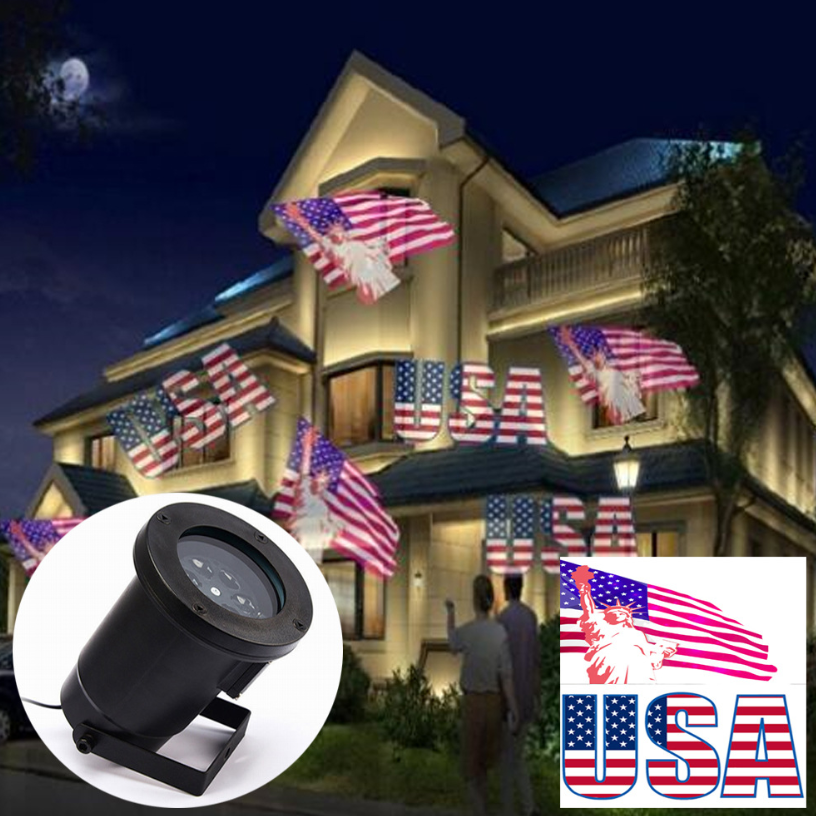 Outdoor Projection Lamp Ip44 Waterproof Lawn Light Suitable for National Day July 4th Decoration
