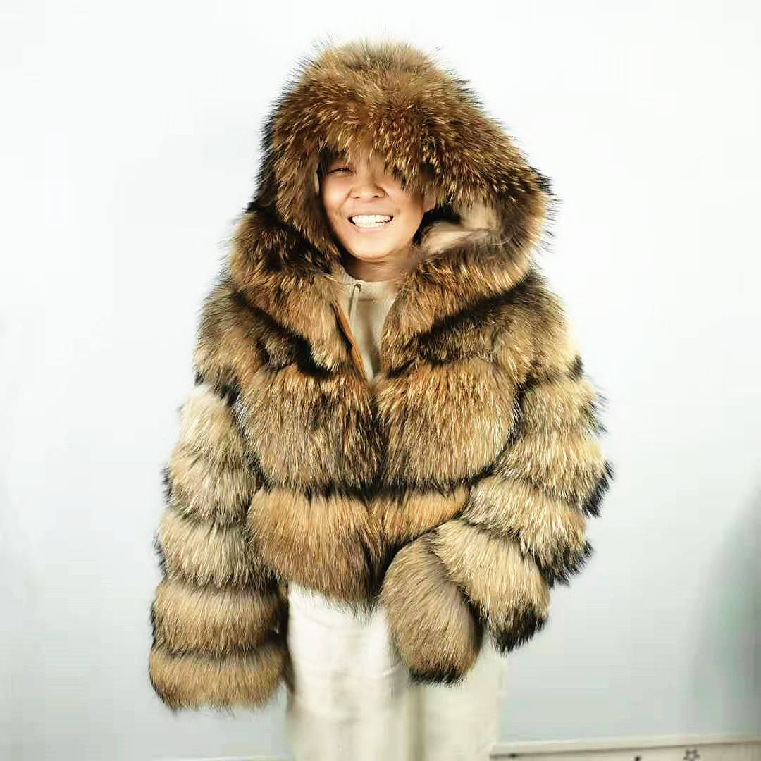 Custom Order Real Raccoon Fur Coat Natural Fur Jacket