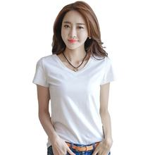 Spring Summer Casual Solid Womens tshirts short sleeve v neck t shirts women slim fit t shirt Tops