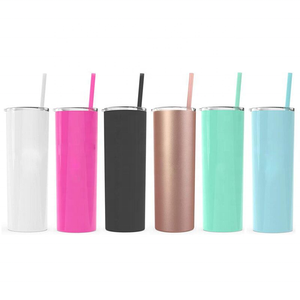 20oz matte custom logo wholesale vacuum metal double wall cup insulated stainless steel skinny tumbler with lid straw