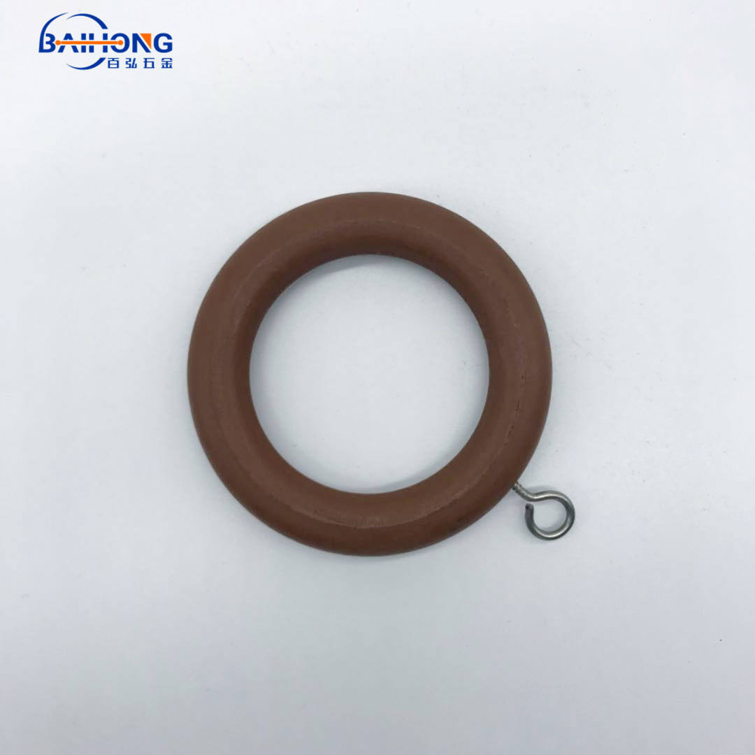 Wood Household Antique Rosewood Fluted Wooden Curtain Rod Ring