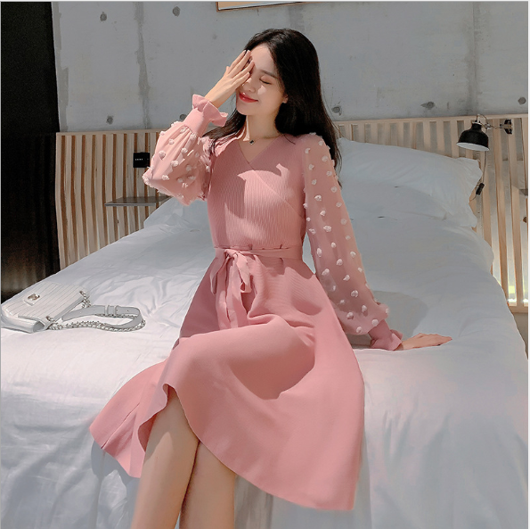 Ladies Autumn And Spring Fashion Long Sleeve With Waist Band V neck Slim Knit Dress