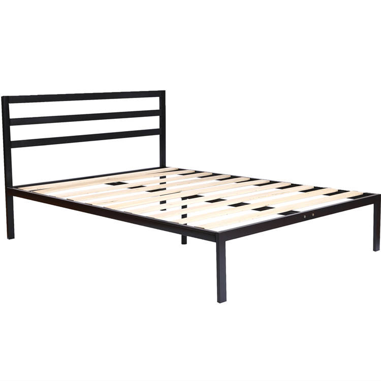 high quality single furniture design wooden slats metal bed frame with headboard