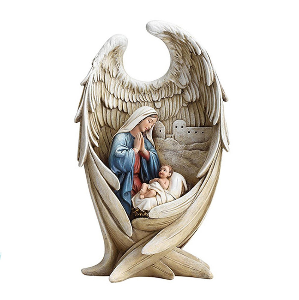Mother Mary And Baby Jesus In Angel Wing Resin Nativity Figurine Religious Statues Wholesale
