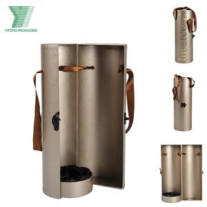 2020 New Special Design Golden LOGO Half Cylinder Open With Lock Ribbon Handle 750ML Red Wine Tube Packaging Box