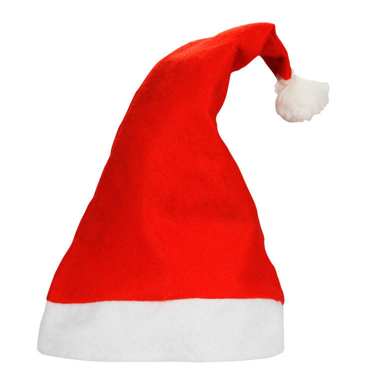 H157 Xmas Festival Party Decoration Non Woven Ultra Soft Hats Children Adult Classic Santa Claus Christmas Hat