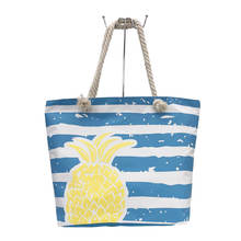 Pineapple Silk Screen Printed Striped Wholesale Womens Shoulder Tote Bag Summer
