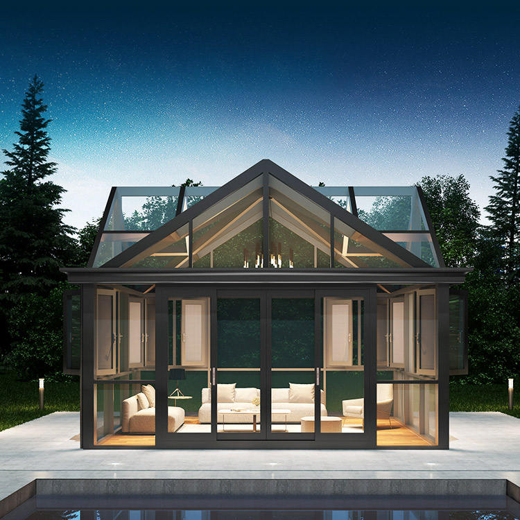 Luxury Modern prefabricated custom winter garden aluminum prefab glass house sunrooms