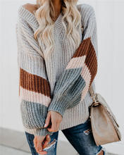 2020 winter fashion Trendy Loose Strip Young Girls Knitted Pullover Oversized Causal lantern sleeve Women Sweater