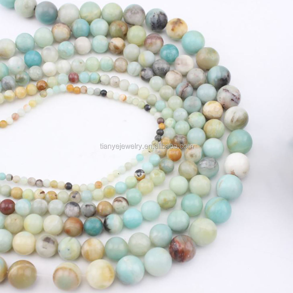 Natural Blue Amazonite Precious Gemstone Beads For Jewelry Making, Semi-precious Stone Strands Beads