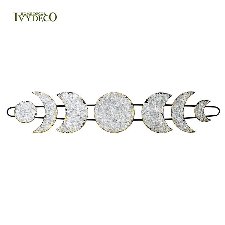 IVYDECO 2020 Hot Sale 3D Silvery Metal Texture Moon Phase With 7 Pieces Decorations For Home Wall Arts