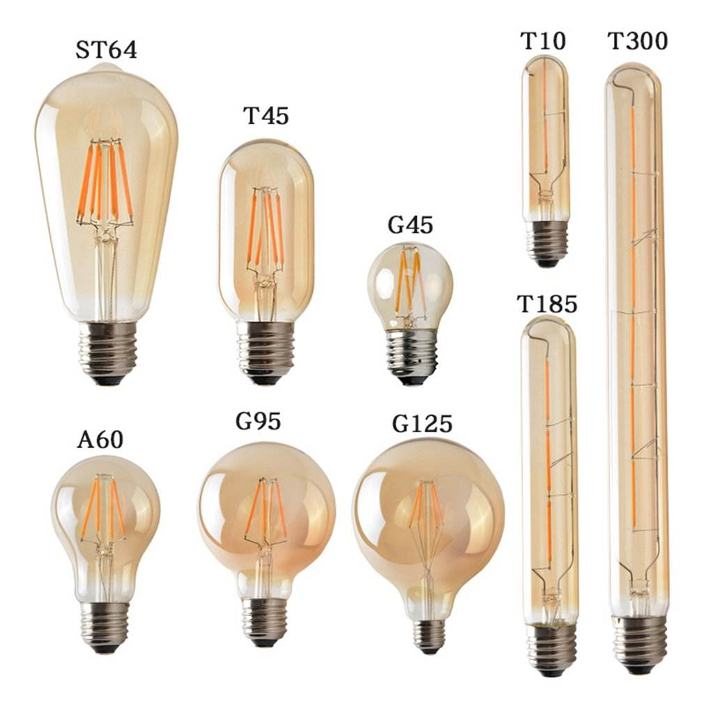 60W Equivalent 6W 480lm E26 Vintage LED Filament Bulb ST64 T30 T45 A60 C35 G45 G80 G95 G125 Amber Glass Dimmable LED Edison Bulb
