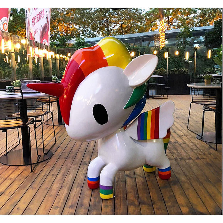 fiberglass unicorn cartoon statue life size sculpture