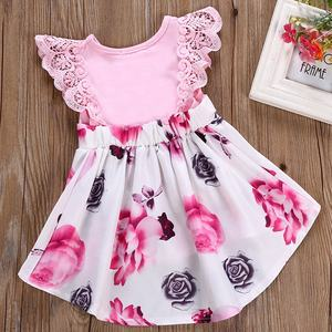 Pink lace fly sleeves kids beautiful model baby summer dress girls casual