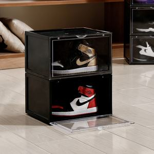 Hot Sale Drop Front Clear Sneaker Storage Box Acrylic Transparent Magnetic Plastic Sneaker Box Nike stackable custom shoe box