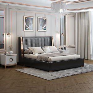 Full Size Solid Wood Bed Frame with Wood Headboard Platform Bed Frame king size bed frame leather