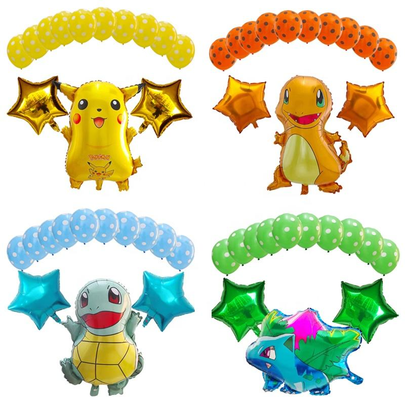 13 pcs Foil Pokemon Balloons Pikachu Jenny Turtle Birthday Party Decoration Cartoon Latex Balloon Baby Shower Boy Girl Kids Toy
