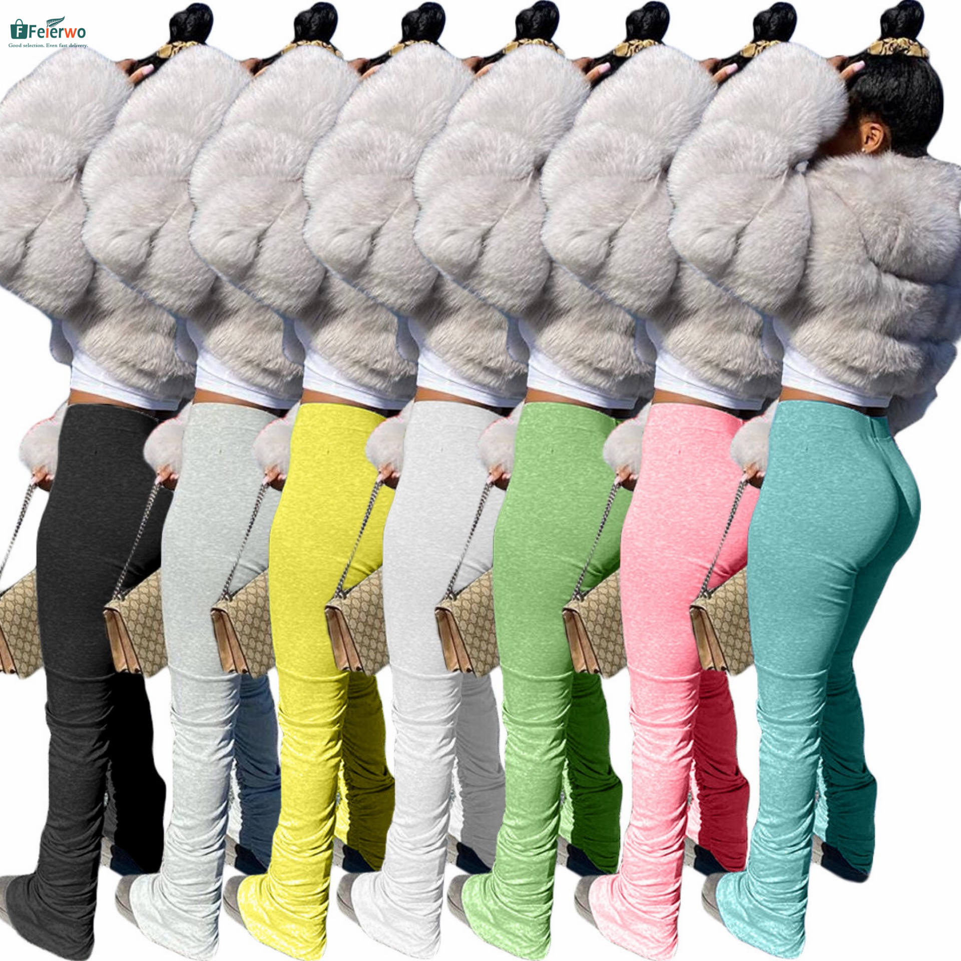 xs to 2xl Fashion Women Casual Mid Waist Pocket Drawstring Solid Pleated Ripped over size Flared Pants Stacked Leggings