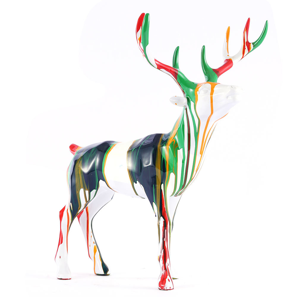 Outdoor life size fiberglass abstract art deer statue for decoration