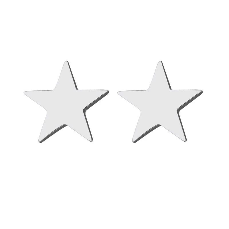 Stainless Steel Stud Earring For Women Man Pentagram Gold And Silver Color Lover's Engagement Jewelry