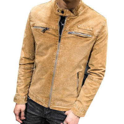 Wholesale Zip Up Chaquetas De Hombre Long Sleeves Slim Fit Washing Snap On Jacket