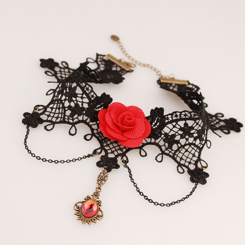 Vintage Strap Black Lace Macrame Choker Ketting Red Stone Hanger Accessoires Goedkope Vrouwen Delicate Sieraden Ketting voor Party