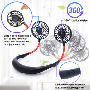 hands free usb lazy neck fan rechargeable led light neck fan