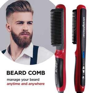 Factory price Ceramic Heating Women Hair Straightener Brush LCD display Anti Scald Men Beard Straightening Comb
