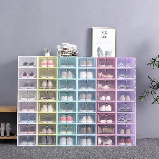 Wholesale cheap simple convenient durable storage clear stackable plastic shoe box