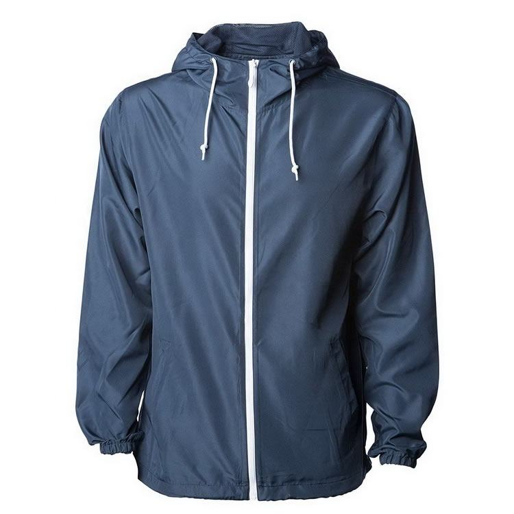Nylon Polyester Full Zipper Navy Blue Waterproof Unisex Plain Men Custom Windbreaker Jacket