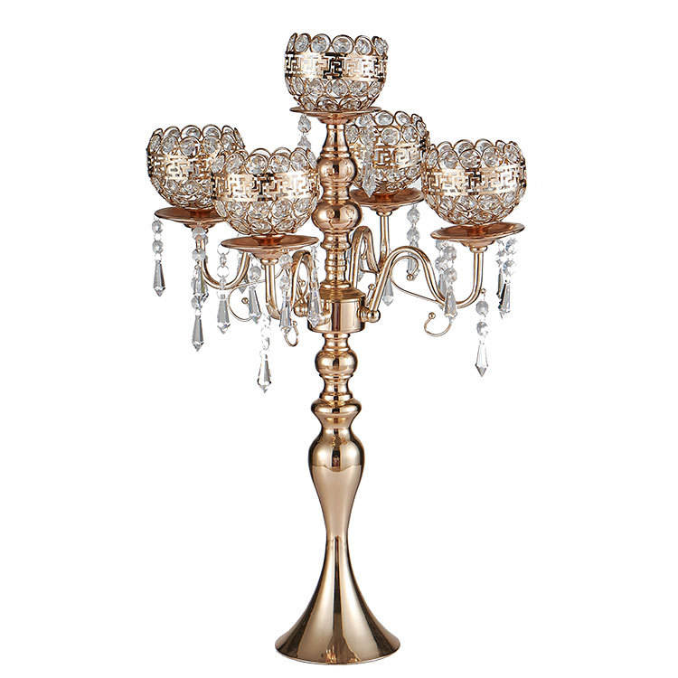 Gold Metal Iron Candle Holders Road Lead Candelabra Centre Pieces Wedding Decoration 5 Heads Tall Crystal Candlestick