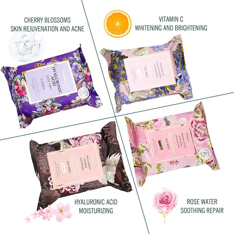 Wholesale OEM Spunlace Non Woven Fabric Premium Wipes Quick Facial cleaning Makeup Remover wet Wipes