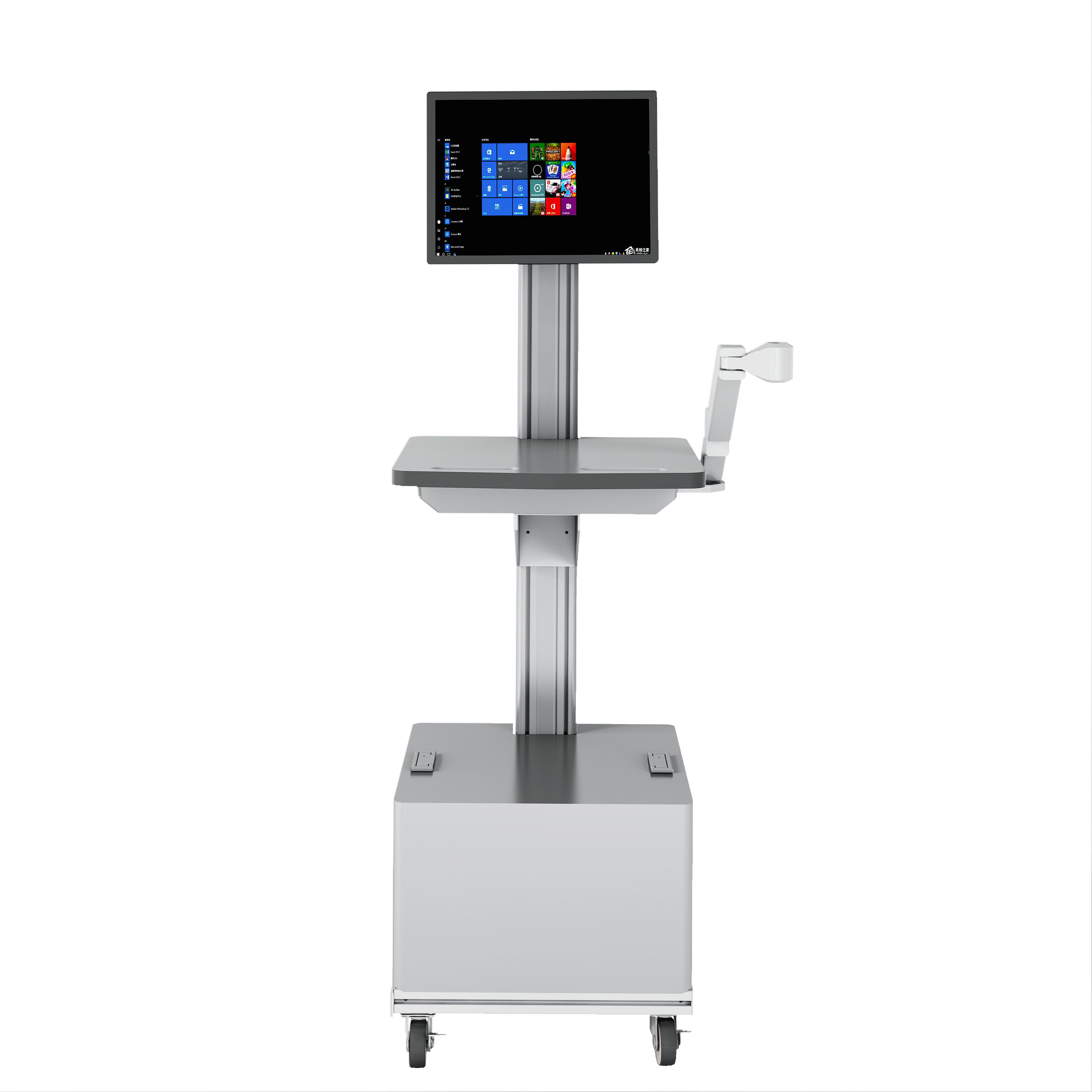 Simple Cheap Plastic Aluminium Alloy Medical equipment computer Laptop cart hospital ultrasound trolley