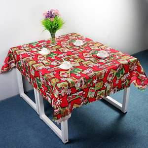 Ourwarm Wholesale Durable Rectangular Table Cloth 150*180cm Christmas Table Decoration Santa Claus Bell Flower able Runner