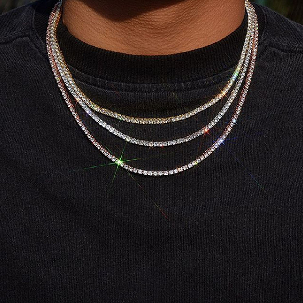 925 Sterling Silver 14 18k Gold 10ミリメートル30 Inch Diamonds Tennis Chain Necklace For Hiphop Jewelry