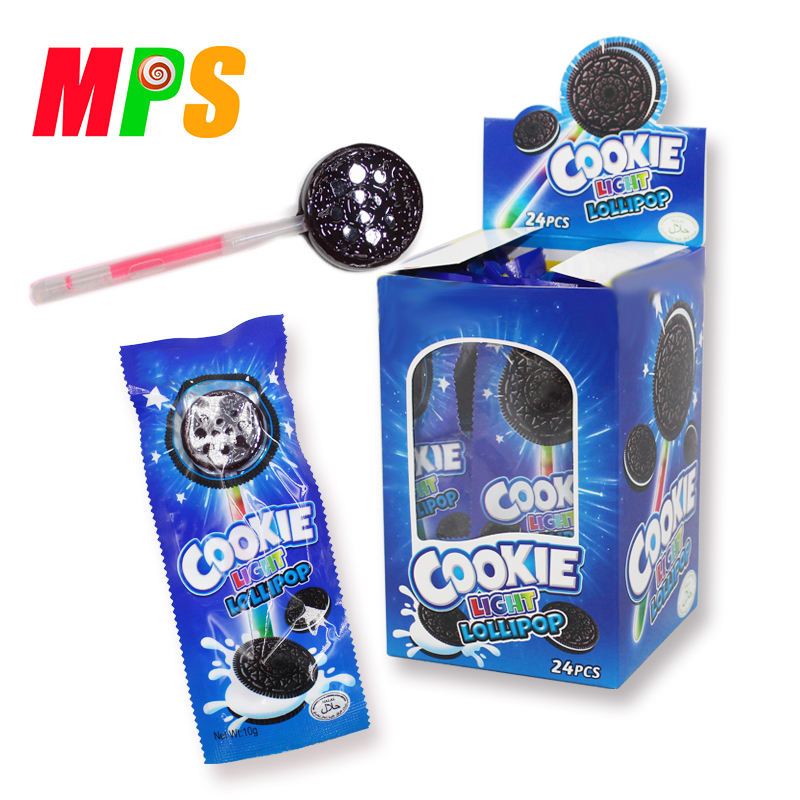 Nuovo prodotto delizioso fluorescente lollipop oreo cookie lollipop con bastone di incandescenza