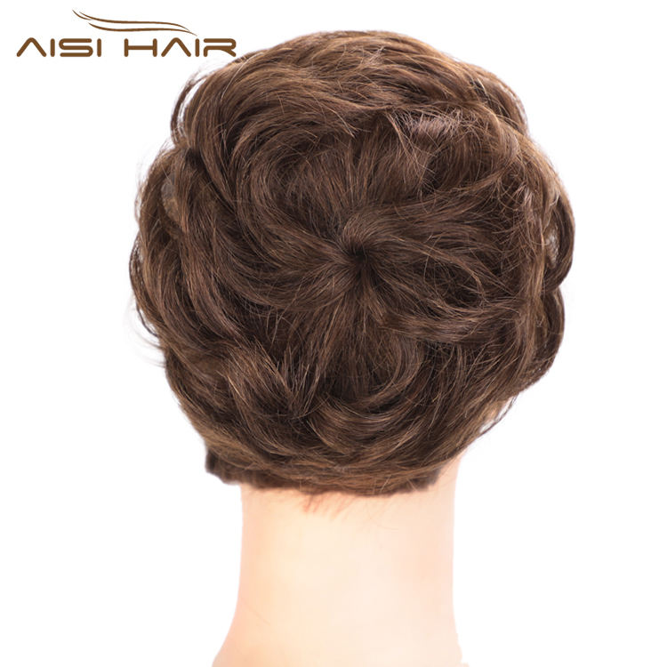 Aisi Hair Brazilian Human Hair Bun Brown Curly Chignon Bun Elastic Rope Rubber Band Hairpiece Clip In Extension For Women