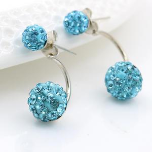 2020 Fashion High - End Silver Plated Diamond Crystal Ball Charm Stud Earrings for Women