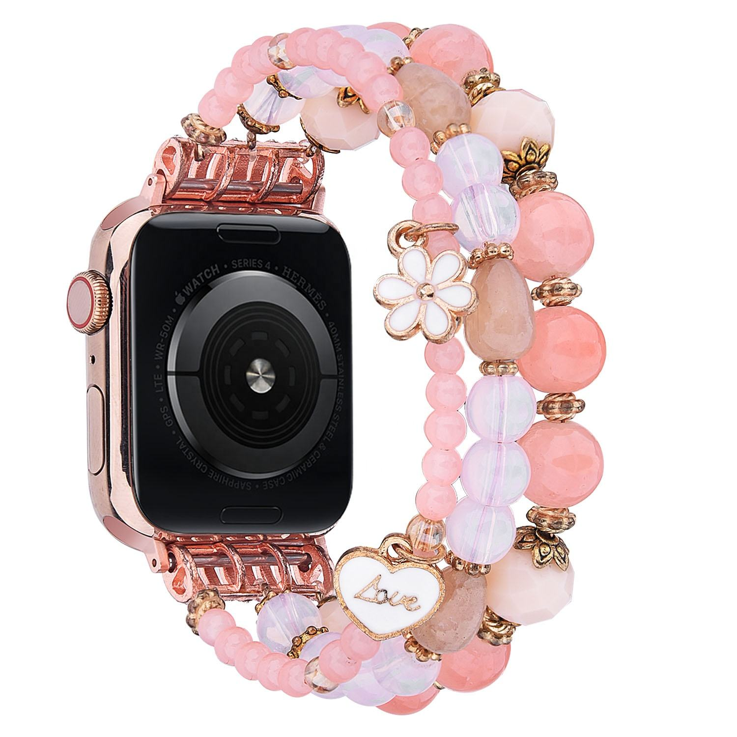 Handmade Resin Personalized Band 38mm 40mm 42mm 44mm Beaded Watch Strap For Apple Watch Bracelet
