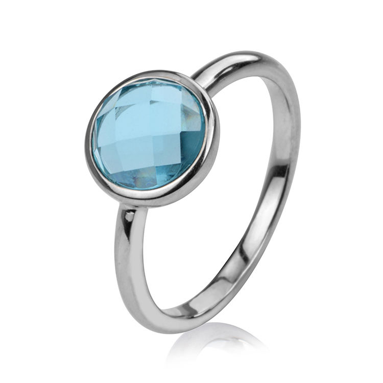 High quality jewelry women blue glass stone silver 925 rings