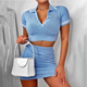 Knitting casual bodycon crop top and skirts outfits 2 piece set women