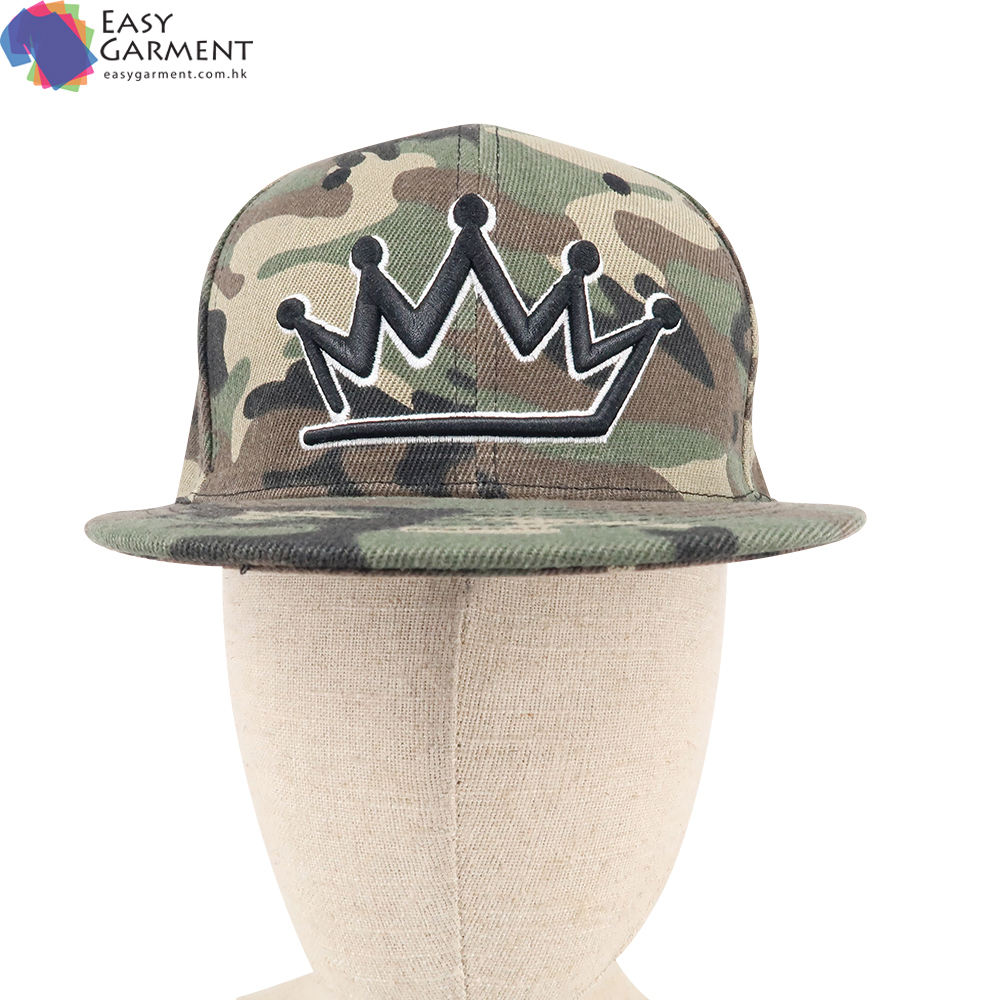 Factory wholesale hip hop 3D Embroidered 100% polyester camo street dance baseball cap for running