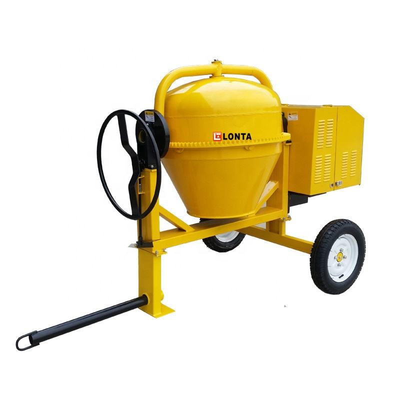 concrete- mixer with 2 wheels diesel gasoline engine mobile concrete mixing station
