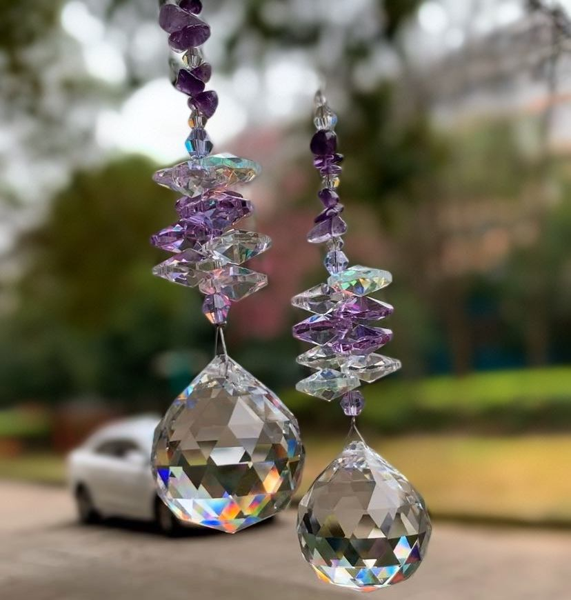 Natural stone crystal suncatcher ball prism