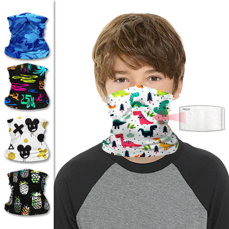 Kids Bandanas Neck Gaiter With Filters Balaclava Magical Multi Funtion Face Scarf Mask