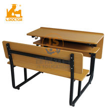 Double Seat wooden school desk and chair student bench