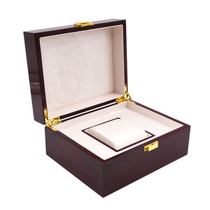 Small MOQ Custom Logo Printed Luxury Wooden Watch Packaging Box With Gold Lock