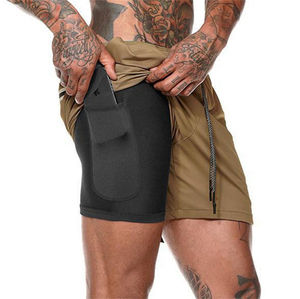 Men's Sports Shorts Workout Running 2 in 1 Double - Deck Training Gym Basketball Shorts with Pockets